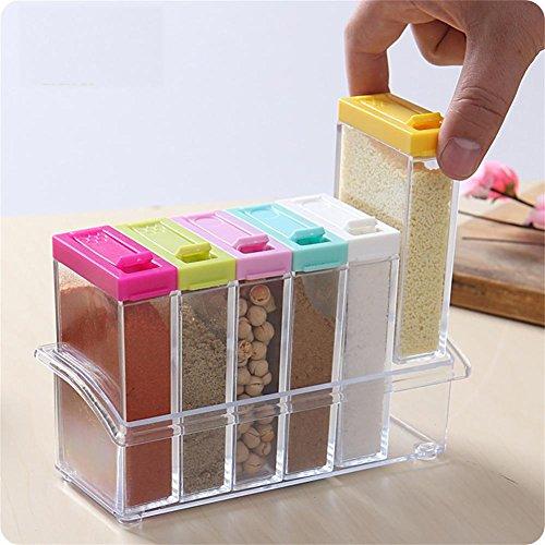 V.JUST Gewürzdose Gewürz Box 6 Teile/satz Küche Gewürz Vorratsflasche Gläser Transparent Salz Pfeffer Kreuzkümmel Pulver Box Werkzeug