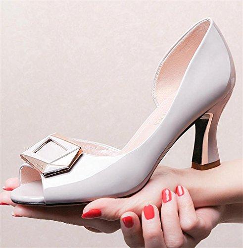 pengweiSandals Damen Fr¨¹hling und Sommer High Heels dick mit Mode Fisch Kopf Schuhe White
