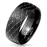 viva adorno® Edelstahl Ring matt Schwarz gebürstet mit Reifenprofil RS56, schwarz diagonal, Gr. 62