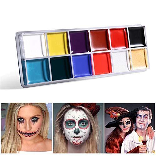 Zooarts Gesicht & Körperfarbe Öl 12 Farben Make-up Halloween Party Kostüm Künstler Palette