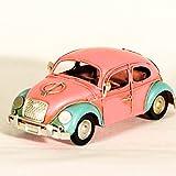 UniqueGift Retro Pink Hippie Käfer Auto Miniatur–Cute VW Bug–Deko Collectible–Hippie-Style Auto Deco–Rosa Modell Auto–Metall Dose Bug