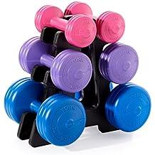 York Fitness Unisex vinilo juego de mancuernas con soporte, color azul/morado/rosa, 19kg