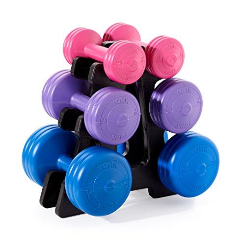 York Fitness - Set di manubri in vinile, unisex, con supporto, blu/viola/rosa, 19kg