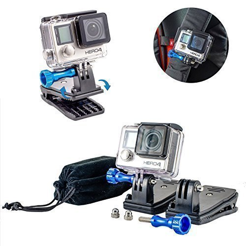 Metallic-unterstützung (Nomaden Gear Rucksack Clip Halterung mit 360'Rotary Halterung mit einer Metallic Schraube für GoPro Hero5/hero4/Hero3/Hero 2cameras  Universal Unterstützung für GoPro, SJCAM, Xiaomi)