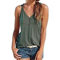 Cloom ❤Womens Sommer Riemchen Weste Top Ärmelloses Shirt Bluse Casual Tank Tops Damen Button Sling Tops Damenmode Lässig Bluse Bequemes ärmelloses Damen-T-Shirt Frauen Tragbares T-Shirt