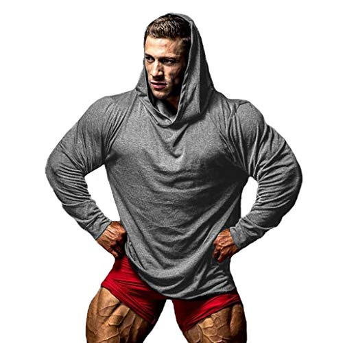 EUZeo Herren Hoodies Sweatshirt Kapuzen-Shirt Pullover Bodybuilding Gym Langarm Sport Tank Kapuzenpullover für Manner Kapuzensweatshirts Funktionsshirt Muskelshirts