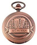 EXCELLANC Taschenuhr - München Germany Biergläser - Weiß Kupfer-Look - Klassik Analog Quarz Metall