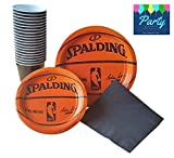 Amscan Spalding Basketball Party Supplies Pack for 18 Guests - Including Dinner Plates, Dessert Plates, Plastic Cups, and Napkins