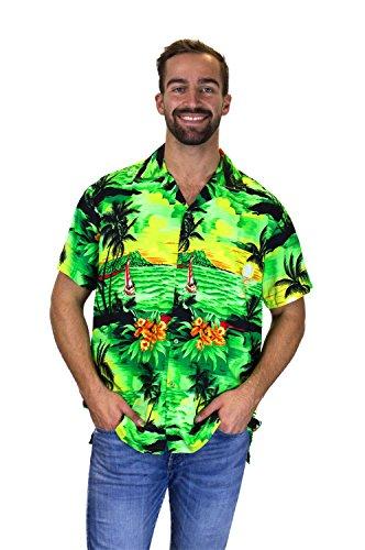 Funky Hawaiihemd Surf - Grün