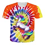 Loveternal Colorful Unicorn T-Shirts 3D Impreso Gráfico Vintage Casual Manga Corta Tops Camisetas para Hombres Mujeres S
