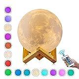 Lámpara de Luna, GDREAMT 16 Colores 3D Luz de Luna, Control Remoto & Táctil Luce, Regulable Luz...