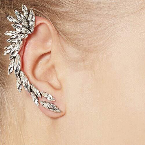 SSEHXL Ohrringe 1 stücke Rechts Ohrclip Mode Strass Hot Earcuff Schmuck Meniskus Silber Überzogene Clip Auf Ohrringe Schmuck Geschenk