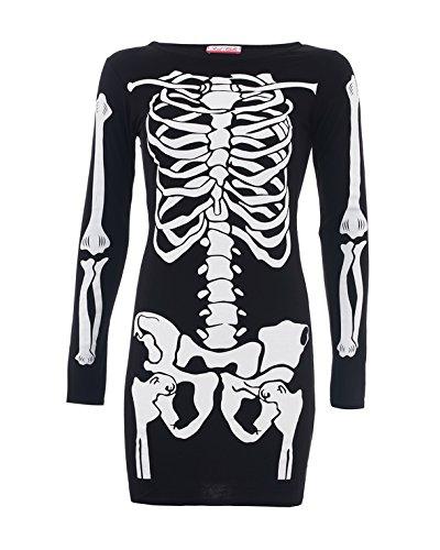 Style Divaa® Damen Skelett Druck Figurbetont Kleid Gr. XX-Large, schwarz