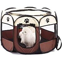 SHARLLEN Portable Portátil Plegable para Mascotas, Interior/Exterior, Dog Exercise Pen Kennel con Malla Extraíble Cover para Gatos Cachorro Gatitos Conejos (L 91 * 91 * 58cm)