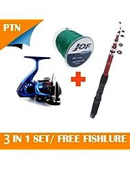 Canne A Pêche Téléscopique Portable 2.1M/2.4M/.2.7M en fibre de carbone + Moulinet Bobine Fil lanceur+ Fil de Pêche 100M