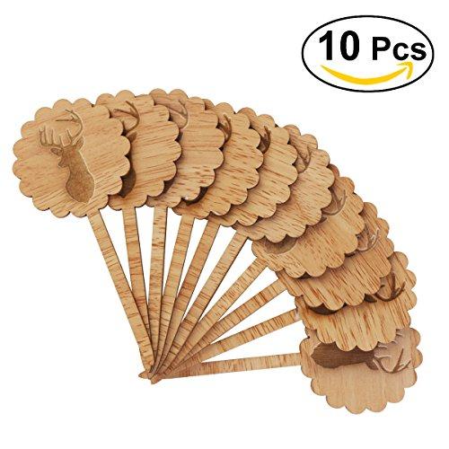 ULTNICE 10 Stücke Holz Cupcake Toppers Deko Picker für Weihnachten Geburtstag Hochzeit Kuchen Dekoration (Geweih)