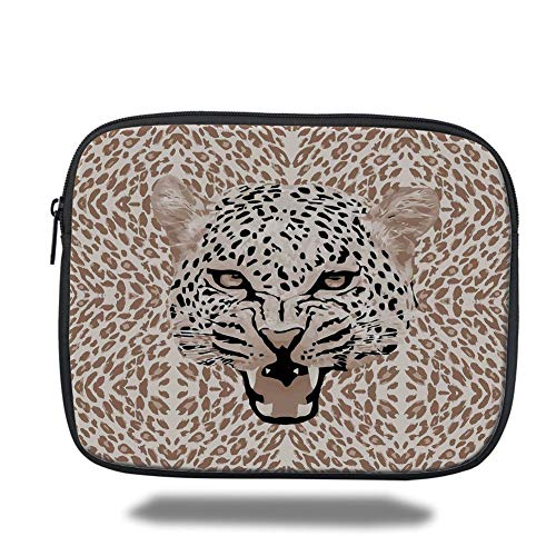 Laptop Sleeve Case,Modern,Roaring Leopard Portrait with Rosettes Wild African Animal Big Cat Graphic,Cocoa Beige Black,Tablet Bag for Ipad air 2/3/4/mini 9.7 inch Leopard Rosette
