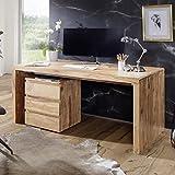 FineBuy Schreibtisch Massiv-Holz Akazie Computertisch 120 cm breit Echtholz Design Ablage Büro-Tisch Landhaus-Stil Natur-Produkt Büro-Möbel dunkel-braun Modern Büroeinrichtung rechteckig 76 cm hoch