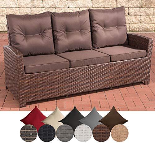 CLP Polyrattan-Sofa FISOLO mit DREI Sitzplätzen I Gartensofa mit stabilem Untergestell aus Aluminium I Couch mit Kissen und Polsterauflagen I erhältlich