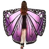 Disfraz Para Mujer/Niños, ❤️Xinantime Chal de alas de mariposa de las mujeres Bufandas Ladies Nymph Pixie Poncho Accesorio de disfraces (❤️Morado)