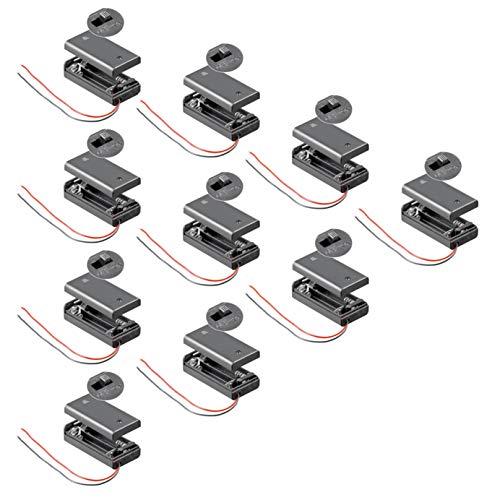10x Batteriehalter | 2X AA Mignon | mit EIN Aus Schalter | lose Kabelenden | geschlossenes Gehäuse | wasserabweisend | schaltbar | Batteriefach Akkuhalter Aufbewahrungsbox | 10 Stück