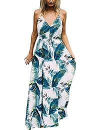 78009f40e9a Fahou Femmes Bohème Ethnique Tropical Feuille Plume Imprimé Maxi Longue Robe  Swing Taille Haute Cordon V