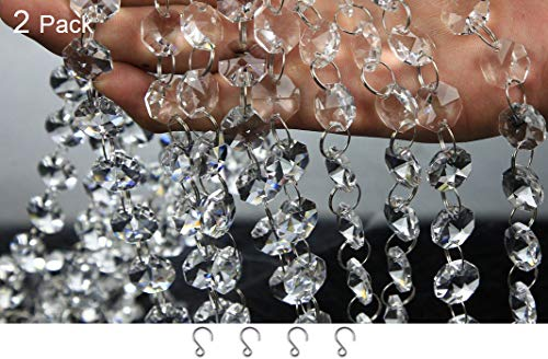 JaneYi 2 Stück 1M Klar Kristallglas Perlen Strang 47 Achteckig Perlen und Metallringe mit 4 Stück Mini Haken - Abnehmbarer DIY Kristall Perlen Vorhang Kronleuchter Fenster Hochzeit Feier Hotel Dekor