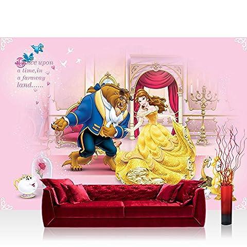 Fototapete 368x254 cm PREMIUM Wand Foto Tapete Wand Bild Papiertapete - Disney Tapete Disney - Die Schöne und das Biest Kindertapete Cartoon Schloss rosa - no.