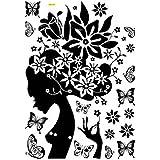 CY-buity 70* 90cm mujer & flores Vinilo decorativo de pared mural decoración del hogar