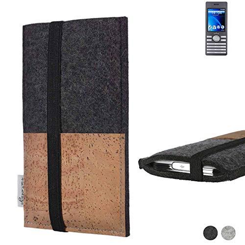 flat.design Handy Hülle Sintra für Kazam Life B6 Handytasche Filz Tasche Schutz Kartenfach Case Natur Kork