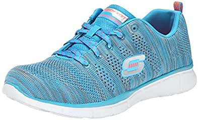 Skechers Equalizer First Rate, Chaussures de sports en salle femme - Bleu (Blu), 35 EU (2 UK) (5 US)