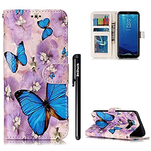 BtDuck Leather Case for Samsung Galaxy S8 / Embossed Blue Butterfly Cloudy Day Purple Lilies ( Vibrant ) Stand Painted pattern Phone Protector PU Leather Flip Folio Cover Anti-slip Skin Outdoor Protection Simple Strict Shockproof Heavy Duty Robust Bumper Case Shell with Stander Oyster Card ( Travel Card Bus Pass)Holder Slots Pocket Kickstand Function Magnetic Closure + 1 * Black Stylus Pen Black Look Up Put down the