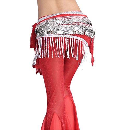 Dance Accessories Tribal 3 Rangées 338 Sliver Bead Coins Danse du ventre costume Hip écharpe jupe Costume red