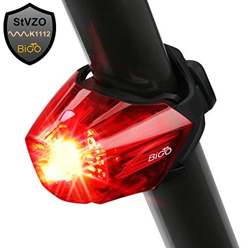 BIGO Fahrrad Rücklicht, StVZO Zugelassen Ultra Hell LED USB Aufladbar Wasserdichte Fahrradlicht Fahrradbeleuchtung Fahrradlampe Aufladbar Fahrradrücklicht Fahrradhelme Lichter