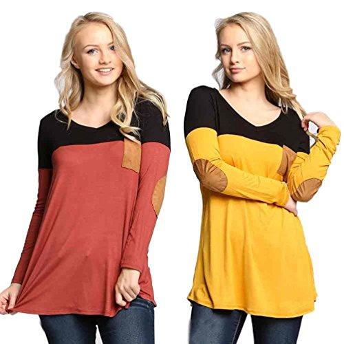 Chemisier femme , Transer ® Mode chemisier femme manches longues T-Shirt Loose v-Neck Tops Jaune