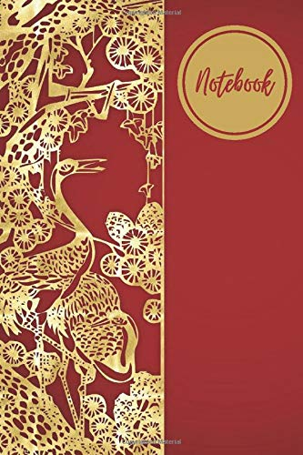Notebook: Blank Book College Ruled Paper Notebook | Writing Lined Journal Organizer For Journaling or Notes | Cute Dairy Gift Ideas for women and men | chinese Red Gold Cover 6 x 9 and 100 pages