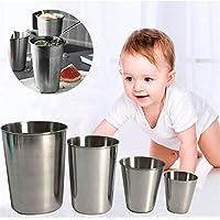 HUVE Taza de Acero Inoxidable, Vasos Copas de Metal Tumbler Apilables Premium de BPA sin Plomo [Paquete de 2] (150ml)