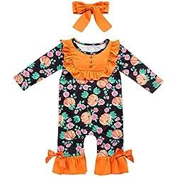 Sayla Combinaison Manches Courtes à Imprimé Citrouille Et à Franges Pour Enfants Halloween Pour Enfant 0-24Mois