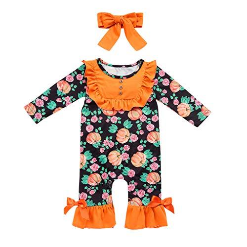 Deloito Säugling Baby Kleidung Set Mädchen Kinder Overall Langarm Rüschen Halloween Kürbis Gedruckt Strampler + Haarband Outfits Set (Orange,6-12 Monate)