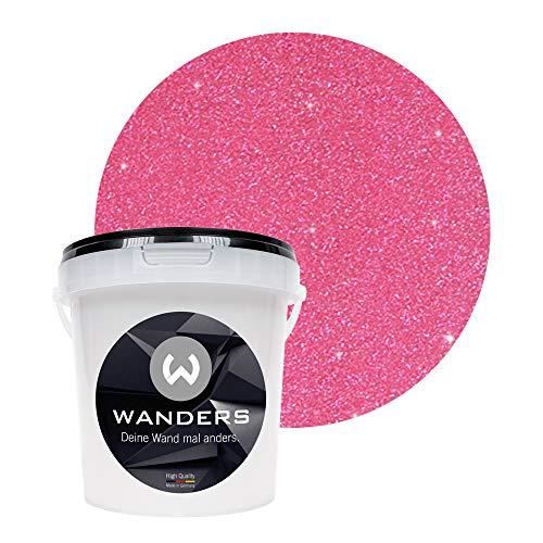 Wanders24 Glimmer-Optik (1 Liter, Silber-Pink) Glitzer-Strukturpaste in 16 Farbtönen erhältlich, individuelle Gestaltung, Farbe Made in Germany