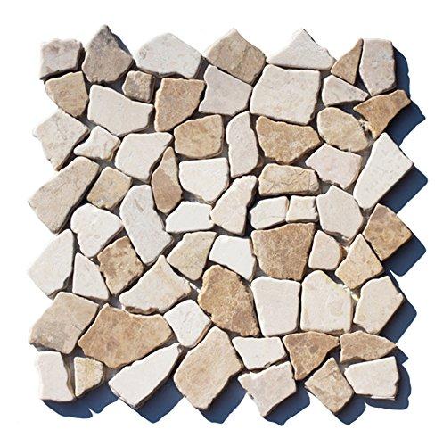 M-1-022 - 1 m² = 11 Fliesen - Marmor Bruchstein Mosaikfliesen