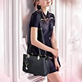 Womens Handbags Shoulder Bags, URAQT PU Leather Ladies Shoulder Bag Fashion Tote Bag Casual & Work, BLACK, Mother's Day Gift