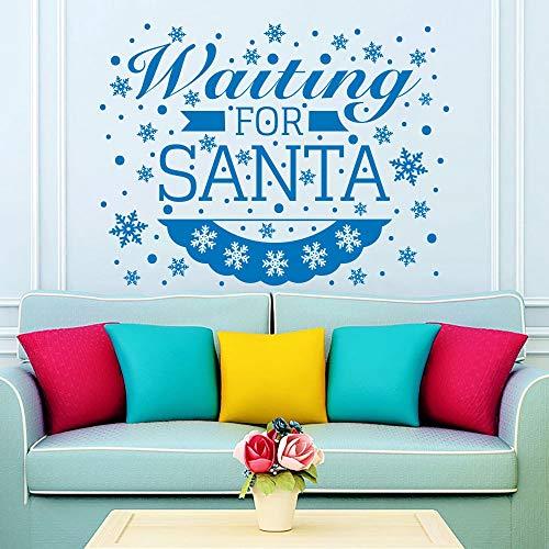 Weihnachten Schneeflocken Wandtattoos Vinyl Brief Warten auf Santa Zitate Wandaufkleber Weihnachten Kunst Dekor Wandaufkleber 56x74 cm (Von Brief Santa)