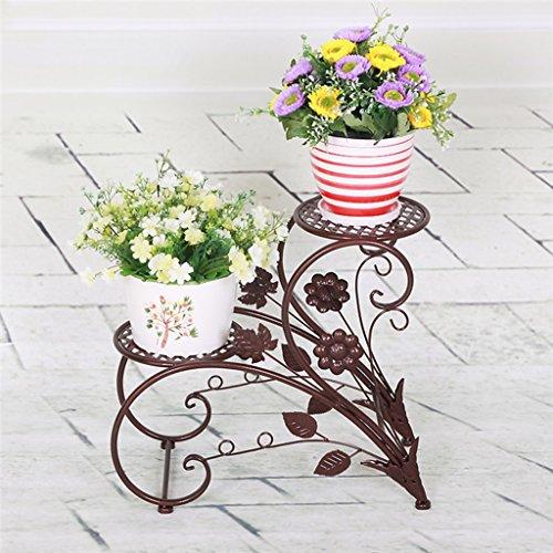 JAZS® Porte-fleurs en fer, style européen rural Double couche Style de sol Porte-pot à fleurs salon intérieur balcon Porte-plaques 45 × 20 × 42cm protection de l'environnement raffinée ( Couleur : Bronze )