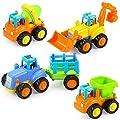Hola Mini Jouet Voiture Push 4Pcs Véhicules de Construction pour Bébé 1-3 Ans Tracteurs Bulldozer Camion Mélangeur Dumper Construction Cadeau pour Anniversaire Fête