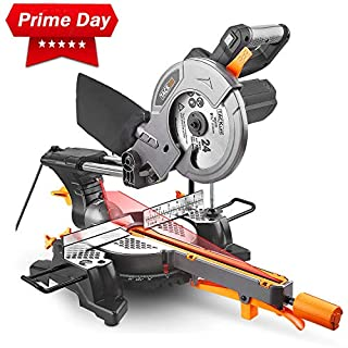 TACKLIFE Mitre Saw, 1500W 4500RPM Sliding Mitre Saw with 24T 210mm Blade, 200mm Extension Bars & Dust Bag, Cutting Angle 0-45°, Powerful Performance +45°/-45°Versatility, Cut Wood & Plastic - PMS01X
