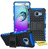Samsung Galaxy A3 (2016) Handy Tasche, FoneExpert® Hülle Abdeckung Cover schutzhülle Tough Strong Rugged Shock Proof Heavy Duty Case für Samsung Galaxy A3 (2016) + Displayschutzfolie (Blau)