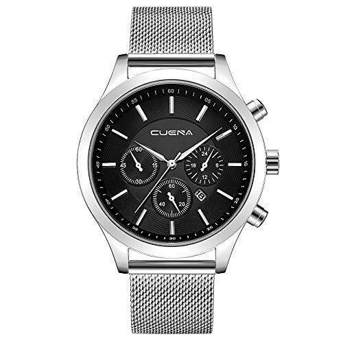 ❀LuccyOne❀Einfach MäNner Schnalle SchließE Quarz Uhren,Herren Uhr Analog Mit Armband Armbanduhr,Business Elegant Design Watch,Minimalistische Bewegung Armbanduhren