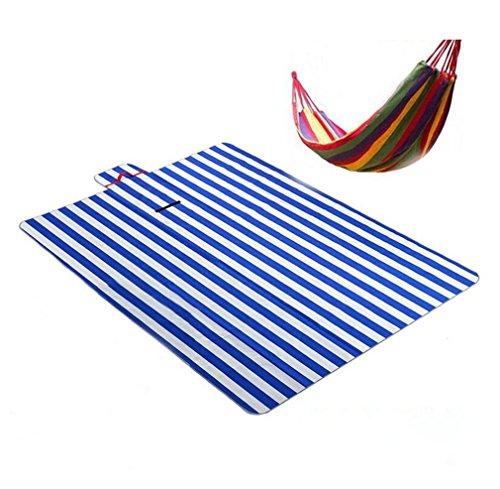 Teppich Wasserdicht Roll up Für Festival Reisen Outdoor Faltbare Camping 200 X 150 cm + Leinwand Hängematte,Blue ()