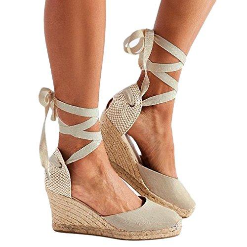 Minetom Damen Sommer Sandalen Keile Schuhe Espadrilles Absätze Knöchel Gurt Schuhe Römersandalen Mode Casual Süßer Beige EU 41 (Leder Knöchel Gurt)